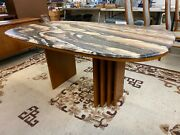 Vintage Bendixen Of Denmark Faux Marble Top Teak Dining Table And 6 Chairs