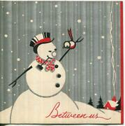 Vintage 1930s Silver Red House Snowman Pipe Bird Puppy Art Deco Greeting Card