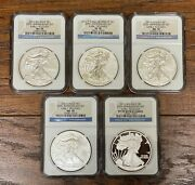 Us 2011 Silver Eagle 25th Anniversary 5 Coin Set Early Releases Ngc B281