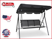 3-person Outdoor Swing Chair Patio Hanging Bench W/ Canopy Black Us Stock Brand
