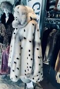 Unique And Hard To Find Printed Mink Fur Cape With Hood Champagne Blush Mink