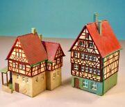 N-scale Buildings - 2 Kibri Timbered Townhouses Built-up Professionally, Nice