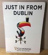 """Guinness Beer Just In From Dublin Special Edition Can Metal Toucan Sign 20""""x14"""""""