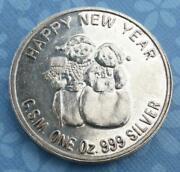 Christmas Santa And Happy New Year Snowman 1oz .999 Fine Silver Gsm Art Round