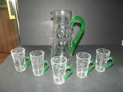 10 Beverage Pitcher And 5 Cups Blenko Clear Crackle Glass And Green Handles Uranium