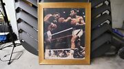 Authentic Autographed From Muhammad Ali On Photo Of Him Knocking Out Joe Frazier