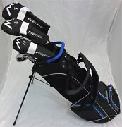 New Mens Complete Golf Set Rh Clubs Driver Wood Hybrid Irons Putter Stand Bag