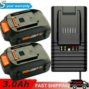 For Worx 20v 3.0ah Max Extend Lithium Ion Battery / Charger Wa3520 Wa3525 Wa3575