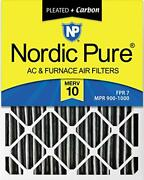 Nordic Pure 16x25x4 Merv 10 Pleated Plus Carbon Ac Furnace Air Filters 6 Pack