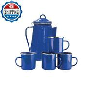 Camping Cookware Enamel 8 Cup Coffee Pot With Percolator And 4 12 Ounce Mugs