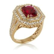 Hsn Jean Dousset 7.7ct Absolute Ruby Octagon Shape Milgrain Ring Size 7 318