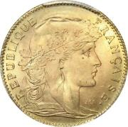 Aa647 Rare France 10 Francs Marianne Coq 1914 Or Gold Pcgs Ms65 - Make Offer