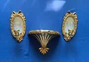Vintage Home Interior Hollywood Regency Mirror Candle Sconce Pair And Shelf