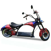 Soversky Electric Motorcycle 2000w 20ah Lithium Fat Tire Chopper Scooter M1 Flag