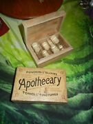 Wooden Box Apothecary Eight 20ml Glass W/ Cork Bottles New Witch
