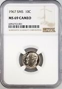 1967 Sms Roosevelt Dime Certified Ms 69 Cameo By Ngc