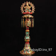 24.8 China Tibet Pure Copper Seiko Painted Gilt Elephant Trunk Fortuna Oil Lamp