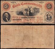 Richmond Va 1858 5 Bank Of The Commonwealth Obsolete Note Free Shipping 1971