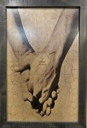 Custom Male Hand In Hand Forever Tree Wooden Puzzle Guest Book Alternative