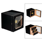 Cigar Humidor 3 Tier Wooden Cigar Box Container W/ Hygrometer Holds Up To 35