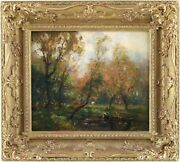 At The Village Pond Antique Oil Painting By Harry Mitton Wilson 1873-1923