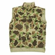 Vintage 80s Stearns Reversible Duck Camo Goose Down Insulated Vest Mens Sz Small