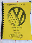 Parts Book For Vw Thing Safari / Type 181 Fully Illustrated With Wiring Diagram