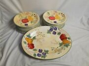 Gibson Designs Fruit Grove Hand Painted Pears Apples Plates Serving Tray Set