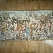 Large Wall Tapestry Turkish Style Market Scene 95x49 Made In Belgium Vintage