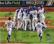 Dodgers 2020 Champs Signed 16 X 20 Celebration Photo And At Least 6 Sigs - 1/220