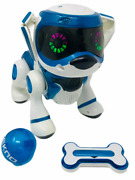 Tekno Robotic Puppy Dog Blue And White With Ball And Bone Robot Bark Walk React