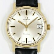 Omega Geneve Automatic Cal.565 Silver Dial 750yg Yellow Gold Leather Menand039s