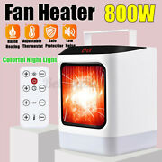 800w 110v Timing Led Heater Portable Mini Fan Handy Remote Control Home New