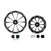 Black 21/23/26/30 Front And18and039and039 Rear Wheel Rim Hub Fit For Harley Road King 08-21