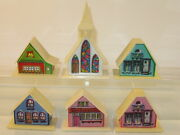 Alpine Village Putz Plastic Christmas Church And Houses Mixed Lot Of 6