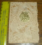 2nd Antique 1850s Valentine's Day Card W/ Paper Lace Dresden Cupid Rare