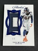Panini Flawless Von Miller 5/5 1/1 Game Used Patch Denver Broncos Fire