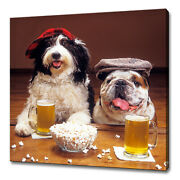 Two Funny Dogs With Hats At The Bar Modern Design Canvas Print Wall Art Picture