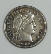 1902-s Barber Dime Almost Uncirculated Silver 10-cents