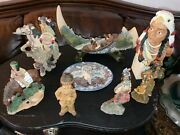 Vintage Native American Indian Figurines And Statues With Horses And Canoe. 8 Pieces