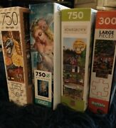 4 Jigsaw Puzzles 3×750 +1×300 Mixed Lot Linen, Mb Puzzle, Ceaco, Buffalo