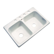 Glacier Bay Drop-in Kitchen Sink Acrylic 33 In. 4-hole Double Bowl In Biscuit