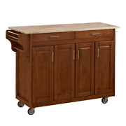 Homestyles Kitchen Cart Wood-top Frame Gloss Cabinets Towel Rack Partial Overlay
