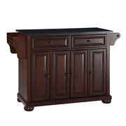 Kitchen Island 36 In. X 52 In. 3-shelves 2-drawer Cabinet Towel Rack Wood Brown