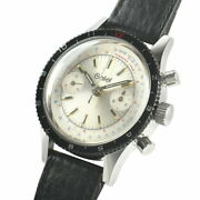 Gallet 2-register Chronograph Watch Hand-winding Manual Ss Silver Black Auth