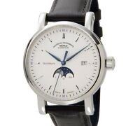 Muhle Glashutte Menand039s Watch M1-44-05-lb Self-winding Moon Phase Leather Belt