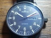 Fortis Flieger Automatic 595.18.158 Stainless Black Day Date Men's Watch Used