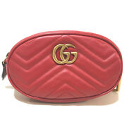 476434 Gg Marmont Quilted Body Bag Waist Pouch Belt Bag Hip Bag Red/gold