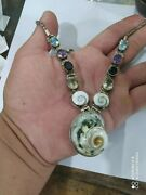 Ancient Antique Victorian Sterling Silver Necklace Pendant Natural Eye Shells
