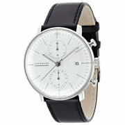 Junghans Max Bill Chronoscope 027 4600 00 Menand039s Watch Round Shape Leather White